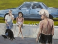 "By the Car, by Frank Baugh, Acrylic on Canvas, 24"" x 48"", 2017"