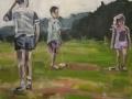 "Croquet II, by Frank Baugh, Acrylic on Canvas, 24"" x 24"", 2017"